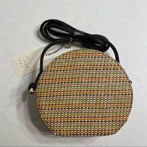 NWT Circle Crossbody Purse Bag Weaved Rainbow